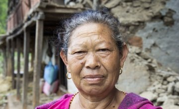 Lal Kumari Magar lost her home near Bhirkot, Dolakha District, Nepal in the 7.3-magnitude aftershock that hit Nepal on May 12th. Photo taken by Crystal Wells / Concern Worldwide.