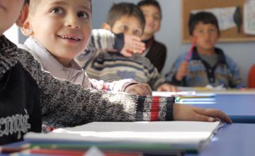 Syrian refugee children attending class. Photo: Concern Worldwide