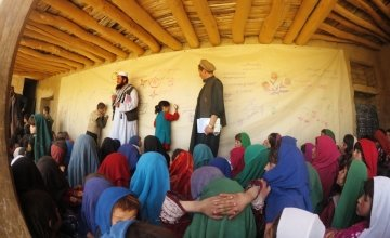 Children draw during a recent education project