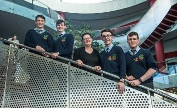 CBS Carlow team with teacher Claire O'Brien at Concern Debates final 2017 in the Helix, Dublin. Photo: Ruth Medjber/Concern Worldwide.