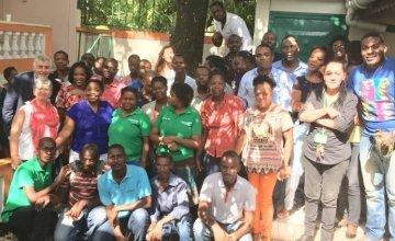 Concern CEO Dominic MacSorley visits staff in Haiti. Photo: Concern Worldwide