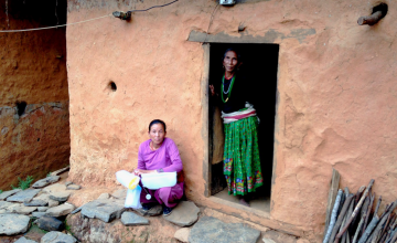 Meena Khatik's home is mainly intact. While they feel secure living indoors, the family intend to use the tarpaulin to house their buffalo. Photo taken by Concern Worldwide.