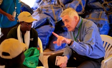 Concern Worldwide CEO Dominic MacSorley with Victoria Gune. Photo: Kieran McConville/Concern Worldwide.