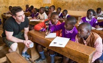 Students from M.M Chandaria school in Nairobi, Kenya write letters to Dublin footballer, Michael Darragh Macauley's class in Tallaght.  Picture: Jennifer Nolan/Concern Worldwide