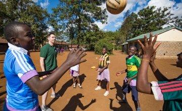 Dublin GAA Player, Michael Darragh Macauley playing games at M.M Chandaria school in Nairobi, Kenya.  Picture: Steve De Neef/Concern Worldwide