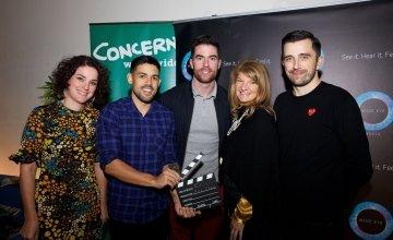 Concern Director of Communications Sarah Martin alongside Cannes Young Lions Winners Eric and Kieran, GAA star Michael Daragh Macauley, and IAPI CEO Stoney. Photo: Concern Worldwide.