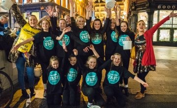 Members of the Mary Grimes School of Irish Dance entertain Grafton Street shoppers  raising funds during the cash appeal for the Concern Fast. Photo: Kevin Carroll/Concern Worldwide.