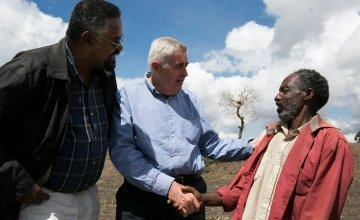 Concern Worldwide CEO, Dominic MacSorley, visiting drought affected areas of Ethiopia. Kieran McConville/Concern Worldwide.