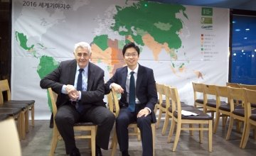 Concern Worldwide CEO Dominic MacSorley with Concern Worldwide Korea Country Manager Jun Mo Lee at an event in 2017. Photo: Eun Young Kim/Concern Worldwide