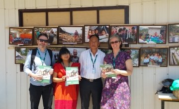 Concern staff members at the one year anniversary for the Nepal earthquake. Photo: Concern Worldwide.