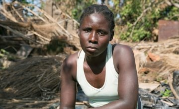 Teresa Jose Almando, a single mother of four young children says the family barely escaped the destruction caused by Cyclone Idai. Photo: Kieran McConville/Concern Worldwide.