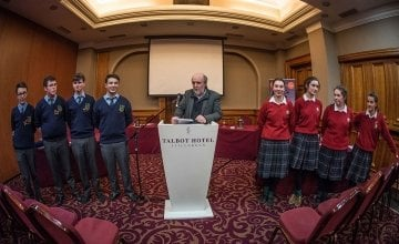 2017 Debates finalists St. Mary's CBS Carlow and Sacred Heart Secondary School, Clonakilty at the unveiling of the morion for the final.