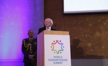 President Michael D Higgins speaks to the Irish Humanitarian Summit. Photo: UCD CHA