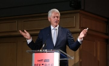 Bill Clinton addresses attendees at Concern's Resurge 2018 conference. Photo: Photocall Ireland/Concern Worldwide