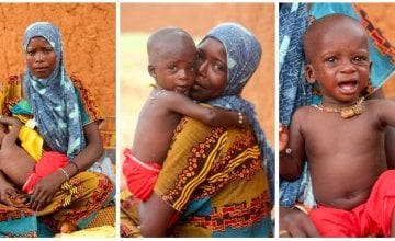 Mother pictured with malnourished child