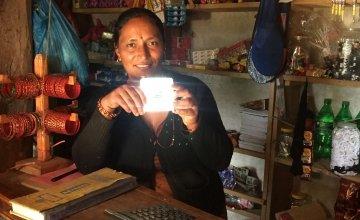 A solar panel light in Nepal. Photo: Concern Worldwide.