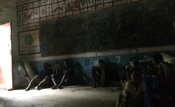 Children displaced by floods in Malawi are now taking shelter in a school in Nsanje. Credit: Deborah Underdown / Concern Worldwide.