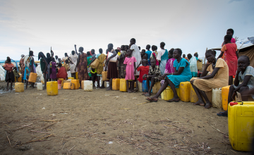 Beneficiaries waiting in line In the capital of Juba. Photo: Concern Worldwide.