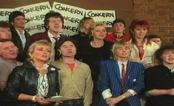 Irish musicians and broadcasters with The Concerned singing Show Some Concern at Windmill Lane Studios in 1985