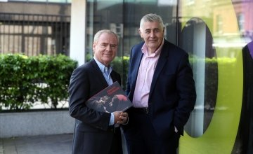 Concern Worldwide Chairperson, Tom Shipsey, with Chief Executive Dominic MacSorley (right) with Concern's 2017 Annual Report at the Annual General Meeting in Concern's Dublin office on Saturday, May 26, 2018