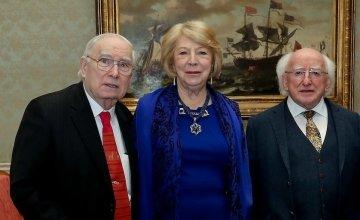 Concern co-founder John O'Loughlin Kennedy (left) with President Michael D Higgins and his wife Sabina Higgins at Áras an Uachtaráin