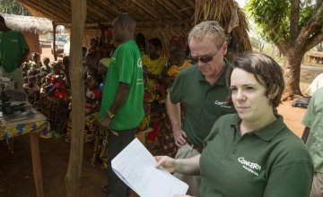 Concern Worldwide Regional Director for Central Africa (including DRC) Reka Sztopa with Concern Chairman Tom Shipsey in Central African Republic in 2017