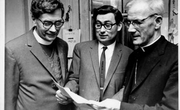 L-R George Cockin, Anglican Bishop of Owerri, John O'Loughlin Kennedy, co-founder of Concern, Joseph Whelan C.S.Sp, Catholic Bishop of Owerri at launch of Joint Biafra Appeal June 28 1968