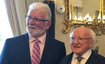 Mariner Karl Vekins with President Michael D. Higgins at 50th anniversary event for Concern Worldwide at Áras an Uachtaráin