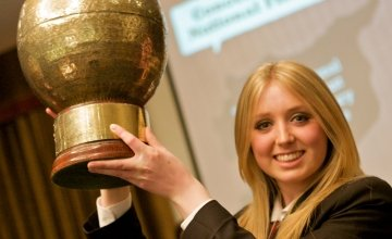 Newbridge College, Kildare, team captain Grainne Carr pictured in 2013 with the Concern Debates trophy after winning the national final.
