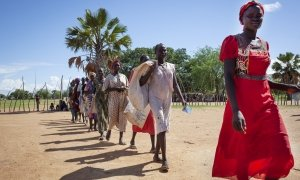 South Sudan Women Walking