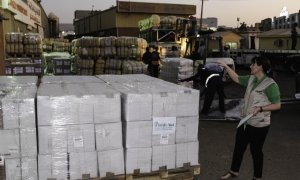 Concern logistics advisor Paula Donohoe checking part of the aid consignment, funded by Irish Aid, after it arrived in Sudanese capital, Khartoum.
