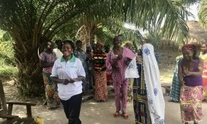 Field Assistant Social Cohesion Madeleine Nzabba during a session with a local women association. Photo: Emma Howie