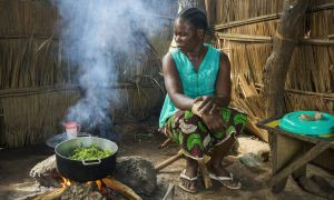 Mum-of-four Hermine Kounougoue (27) prepares a meal.