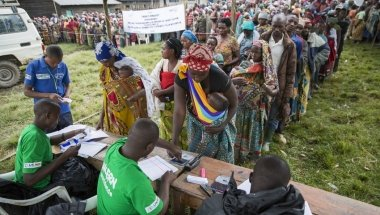 A Concern distribution of tarpaulins to displaced families in DRC.