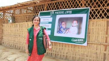 Hasina Rahman of Concern Worldwide outside an Outpatient Therapeutic Centre in Bangladesh. Photo: Concern Worldwide.