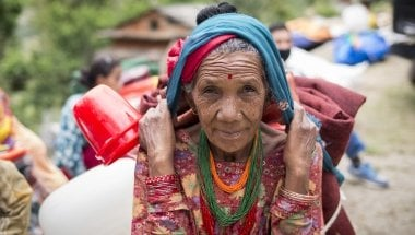 A beneficiary at an aid distribution. Photo: Concern Worldwide.