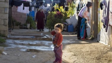 A Syrian child living in an informal settlement near the city of Halba in Northern Lebanon. Photo taken by Kieran McConville / Concern Worldwide.