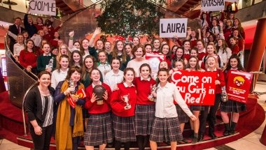 The Sacred Heart Secondary School, Clonakilty, celebrating at the Concern Debates Final. Photo: Concern Worldwide