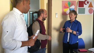 Anne O'Mahony visiting Concern programmes in Turkey. Photo: Concern Worldwide.