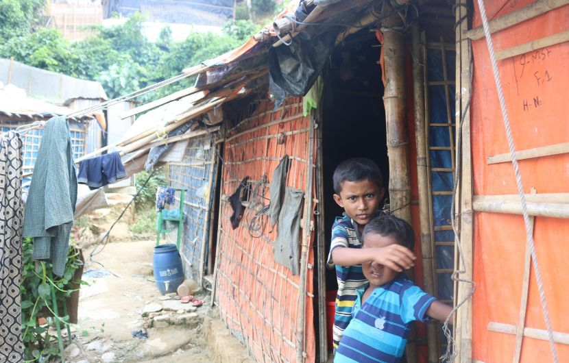 Two of Jaheda's sons in Cox's Bazar