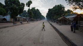 Sunrise on the main street in Kouango, Central African Republic, where Concern is working with some of the poorest communities in the world.