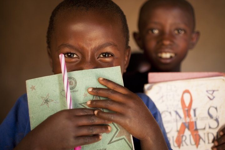 Ghyslaine Iteriteka is now going to school equipped with books and pens thanks to Concern. Photo: Abbie Trayler-Smith / Concern Worldwide.