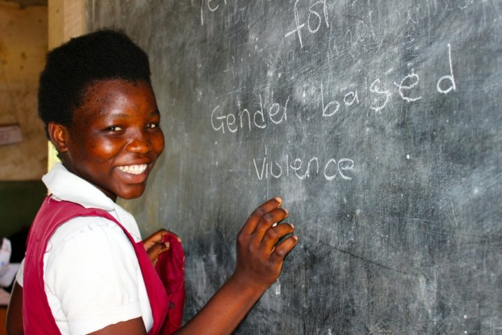 Rebecca Karistu is a student in Sekeni Primary school and studies a range of subjects including Science & Technology and Creative Arts. Concern provides support to her school in the form of capacity building and teacher training. Photo: Jason Kennedy/Concern Worldwide.