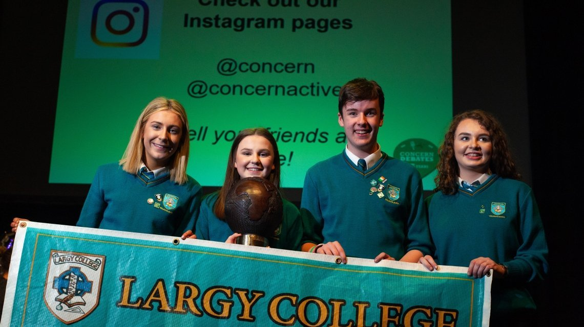 Concern Debates winners Largy College from left Abigail McGuirk, Ruth Madden (captain), Aaron McMahon, Carla Rafferty. Photo: Concern Worldwide.