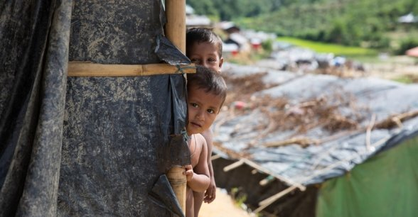 Boli and Mohamud at Moynadhona refugee camp for Rohingya in Cox's Bazar, Bangladesh. Photo: Kieran McConville / Concern Worldwide.