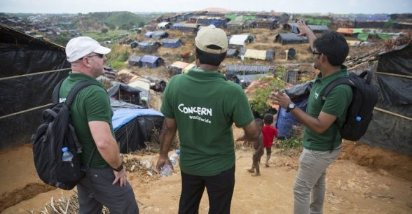 Members of the Concern emergency response team at Hakim Para refugee camp for Rohingya people in Bangladesh. Photo by Kieran McConville / Concern Worldwide.
