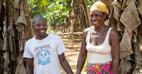 Rebecca Dolley with her husband Jeremiah in Nakai Town. The couple have four children together. Photo: Gavin Douglas / Concern Worldwide.