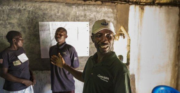 Albert Mukalay, a Concern Hygiene Promoter in Tanganiyka province. Photo: Kieran McConville / Concern Worldwide.