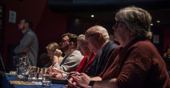 Adjudicators at the 2018 Concern Debates Final. Photo: Ruth Medjber / Concern Worldwide.