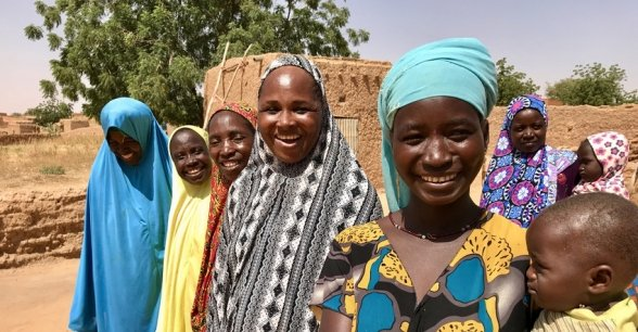 Concern-supported community health workers from the village of Kossoma who have given help and advice to mum Hassana Salouhou. Photo: Darren Vaughan / Concern Worldwide.